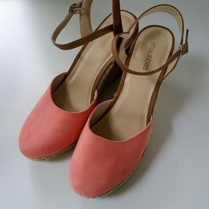 Maurices Shoes - Maurices size 9 Coral Wedges Strap Buckle